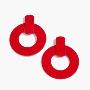 J. crew flat red hoop earrings